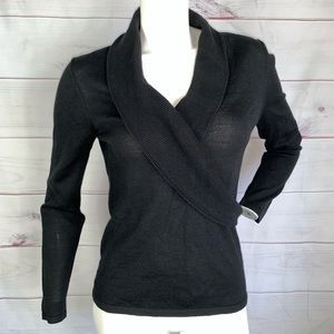 Ann Taylor factory black wrap v-neck sweater sz M